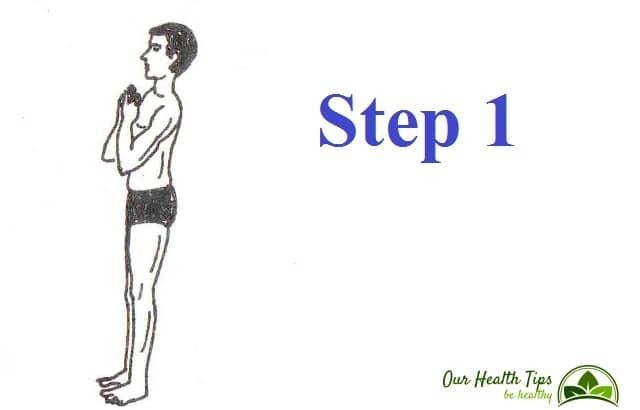 Surya Namaskar Step 1 in hindi