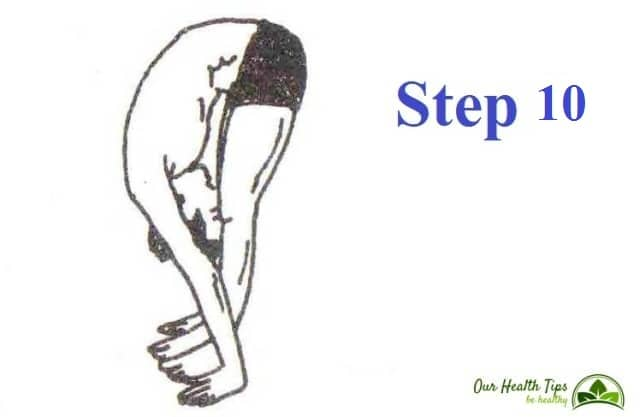 Surya Namaskar Step 10 in hindi