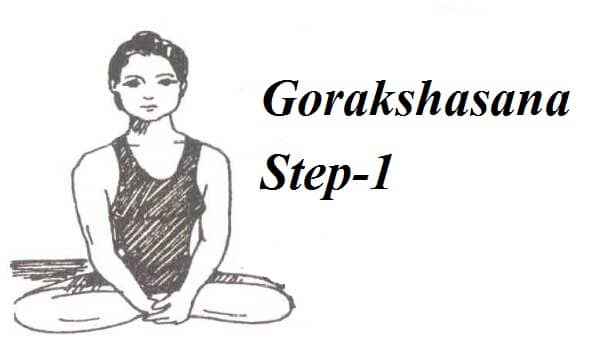 Gorakshasana step in Hindi